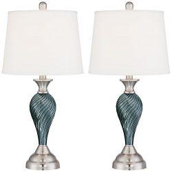 Arden Green-Blue Glass Twist Column Table Lamps – Set of 2