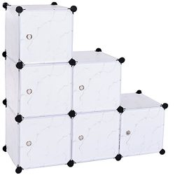 C&AHOME – DIY Closet Organizer Media Storage Cabinet 6 Cube Toy Rack with Doors, marbl ...