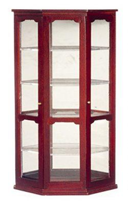 Dollhouse Miniature Mirrored Curio Cabinet in Mahogany