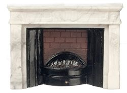 Dollhouse Miniature Electric Faux Marble Fireplace by Falcon Miniatures