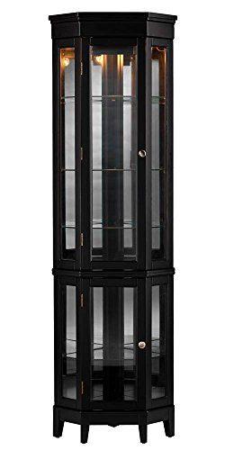 Southern Enterprises Essex Corner Curio Cabinet, Black Finish