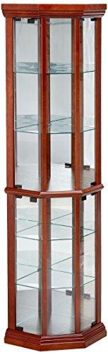 Coaster Solid Wood Glass Corner China Curio Cabinet, medium brown
