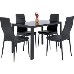 Best Choice Products 5 Piece Kitchen Dining Table Set W/ Glass Top And 4 Leather Chairs Dinette- ...