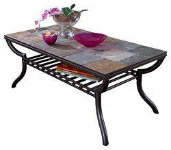 Ashley Furniture Signature Design – Antigo Coffee Table – Slate Top with Metal Botto ...