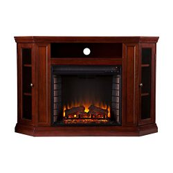 Southern Enterprises Claremont Convertible Media Electric Fireplace 48″ Wide, Cherry Finish