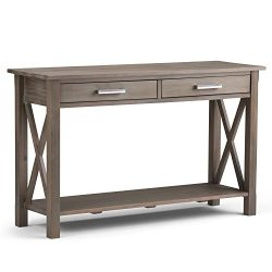 Simpli Home Kitchener Console Sofa Table, Distressed Grey