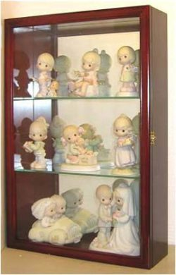 Wall Curio Cabinet / Precious Moments Figurines Display Case, Glass Door, Mirrored Back, CD01B-CH