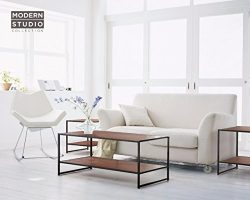Zinus Modern Studio Collection Rectangular Coffee Table and Two Square Side Tables – 3 Pieces