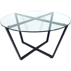 Mango Steam Metro Glass Coffee Table – Clear Top / Black Base