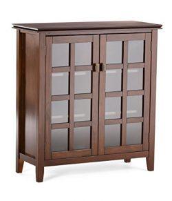 Simpli Home Artisan Medium Storage Cabinet, Medium Auburn Brown