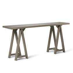 Simpli Home Sawhorse Wide Console Sofa Table, Distressed Grey