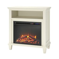 Ameriwood Home Ellington Electric Fireplace Accent Table TV Stand for TVs up to 32″, Ivory