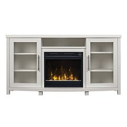 Pamari 299689 Milena TV Stand with Electric Fireplace for TVs up to 60″ White