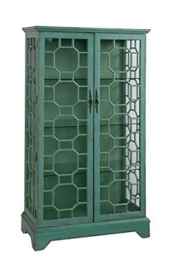 Treasure Trove Accents 17483 Two Door Curio Cabinet, Bayberry Blue