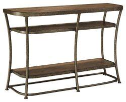 Ashley Furniture Signature Design – Nartina Sofa Table – 4 Fixed Shelves – Rus ...