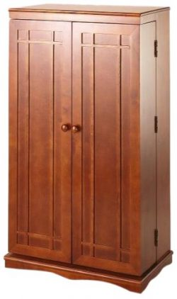 Leslie Dame CD-612W Solid Oak Multimedia Storage Cabinet with Classic Mission Style Doors, Walnut