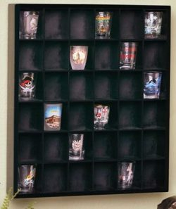 Wood Shot Glass Wall Curio Display case – Black