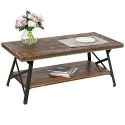 Harper&Bright designs 43″ Wood Coffee Table with Metal Legs, End Table/Living Room Set ...