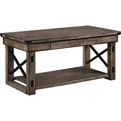 Altra Wildwood Wood Veneer Coffee Table, Rustic Gray