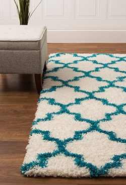 White & Turquoise Shag Rug Trellis Lattice Geometric 2×8 [2′ 7″ X 8′  ...