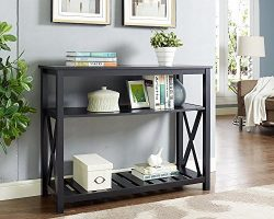 Black Finish 3-Tier Occasional Console Sofa Table Bookshelf X-Design