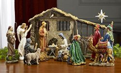 7 Inch Figures Real Life Nativity Full Complete Set – Includes All People, Lighted Manger, ...