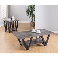 Benzara Coffee & End Table with One Shelf, Set of 2, Gray