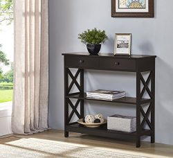Espresso Finish 3-tier Console Sofa Entry Table with Shelf / Two Drawers
