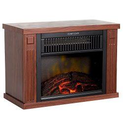 Northwest 80-EF480-W Portable Mini Electric Fireplace Heater, 13″, Wood