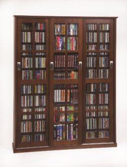 Multimedia Wall Cabinet w Three Sliding Doors w Glass Panes