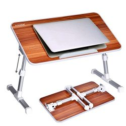 Avantree Quality Adjustable Laptop Table, Portable Standing Bed Desk, Foldable Sofa Breakfast Tr ...