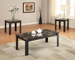 ACME Furniture 82130 3 Piece Carly Coffee/End Table Set, Faux Marble & Black
