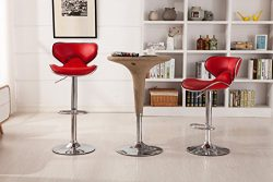 Roundhill Furniture Masaccio Cushioned Red Leatherette Upholstery Airlift Swivel Barstool (Set of 2)