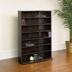 Home Indoor Shelves Stand Multimedia Storage Tower Organizer Shelf Media Cabinet, Six adjustable ...