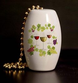 Wine Grapes and Vines Porcelain Fan / Light Pull