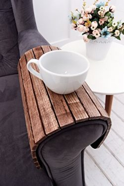 Sofa Arm Table 18×12 Inch by WoodenStuff Over Couch Table Coffee Tea Stand Flexible Folding ...