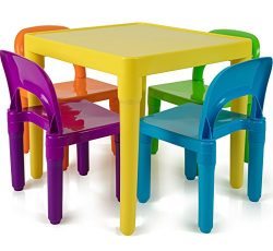 Children and Kids Table and Chairs Set | Includes 4 Plastic Chairs and 1 Art Craft Study Activit ...