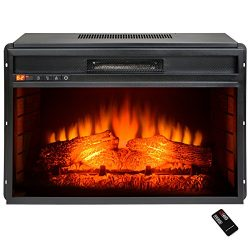 AKDY 23″ Black Freestanding Electric Firebox Fireplace Heater Insert W/Remote