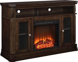 Ameriwood Home Brooklyn Electric Fireplace TV Console for TVs up to 50″, Espresso