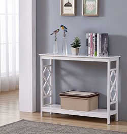 White Finish 2-Tier Quatrefoil Design Occasional Console Sofa Table Bookshelf