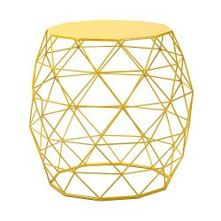 Homebeez Wire Round Iron Metal Stool Side Table /Coffee Table/Sofa Table Hatched Diamond Pattern ...