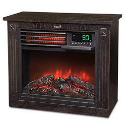 Ivation 5,100 BTU Infrared Quartz Fireplace – 1500W Electric Heater with Realistic Flame, Digita ...
