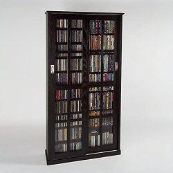 Leslie Dame MS-700ES Mission Multimedia DVD/CD Storage Cabinet with Sliding Glass Doors, Espresso