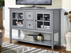 WE Furniture 52″ Wood Console Table Buffet TV Stand – Antique Grey