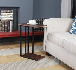GIA C Shape Side End Table – Sofa Height -Faux Reclaimed Wooden Top and Bottom with Heat R ...