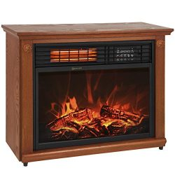 Best Choice Products Large Room Infrared Quartz Electric Fireplace Heater Honey Oak Finish w/ Remote