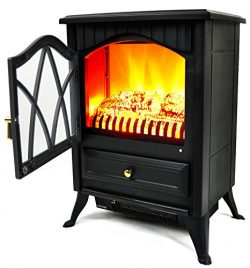 AKDY 16″ Retro-Style Floor Freestanding Vintage Electric Stove Heater Fireplace AK-ND-18D2 ...