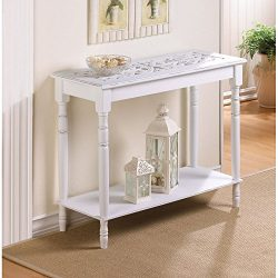 Carved Ornate Distressed Victorian White Chic Shabby Wood Sofa Entry Hall Table