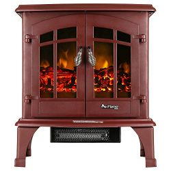 Jasper Portable Free Standing Electric Fireplace Stove by e-Flame USA – 23-inches Tall – Rustic  ...