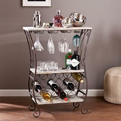 Cathy Wooden Top Wine Storage Sofa Table in Gray with 2 Fi0xed Shelves, 4 Stemware Racks and 18- ...